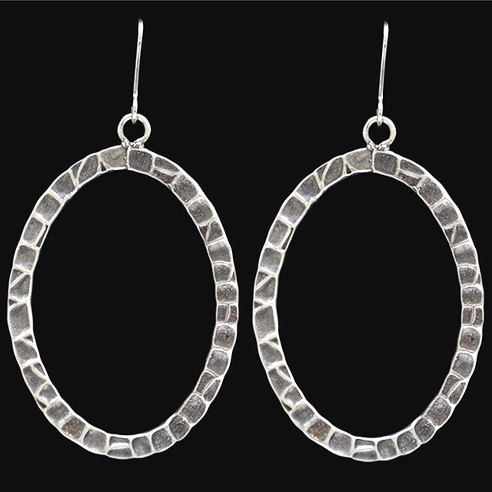 3D ANGEL ANTIQUE SILVER LADY TWISTED HAMMERED OVEL HYPOALLERGENIC WOMEN EARRINGS