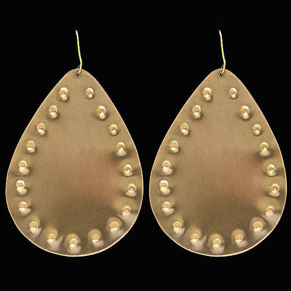 3D ANGEL RANCH GOLD TONE TEARDROP HYPOALLERGENIC WOMEN LADIES GIRLS EARRINGS