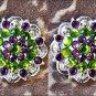 SET OF 2 PERIDOT GREEN & AMETHYST CRYSTALS BERRY CONCHO RHINESTONE HEADSTALL