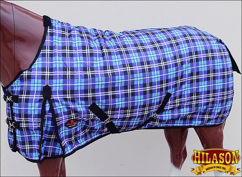 "84"" HILASON 1200D RIPSTOP WATERPROOF TURNOUT HORSE WINTER SHEET PURPLE BLUE"