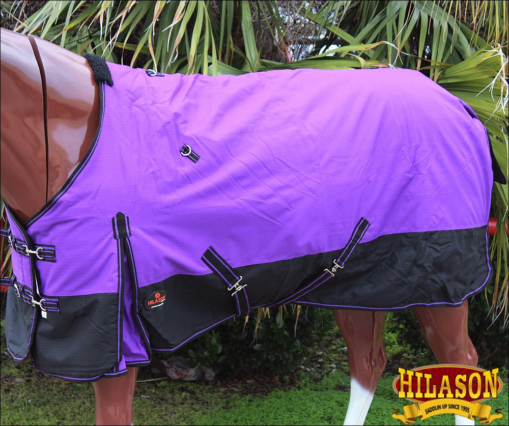 "81"" HILASON 600D WINTER WATERPROOF POLY TURNOUT HORSE BLANKET PURPLE BLACK"