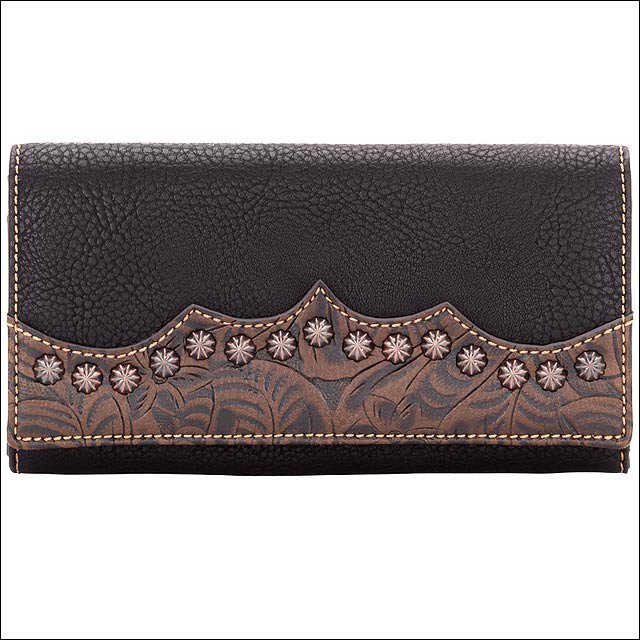 AMERICAN WEST BANDANA JACKSON HOLE LADIES FLAP WALLET PURSE HAND BAG BLACK BROWN