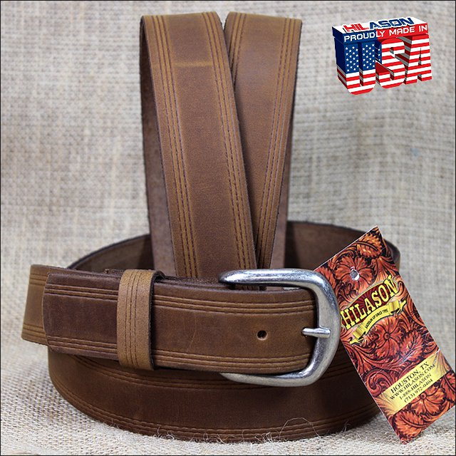 46IN. TAN 1.5in CASUAL LEATHER BELT TRIPLE STITCHED EMBOSSED BORDER MADE IN USA