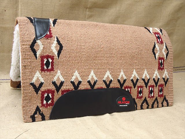 FEP282 MADE IN USA HILASON WESTERN WOOL FELT SADDLE BLANKET PAD BEIGE BLACK