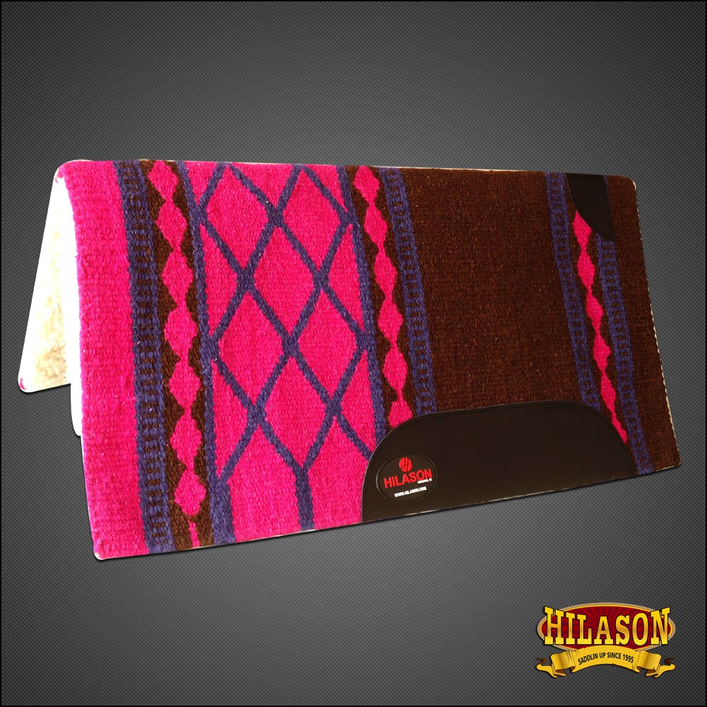 MADE IN USA FE147 HILASON WESTERN WOOL SHOCK BUSTER SADDLE BLANKET PAD PINK
