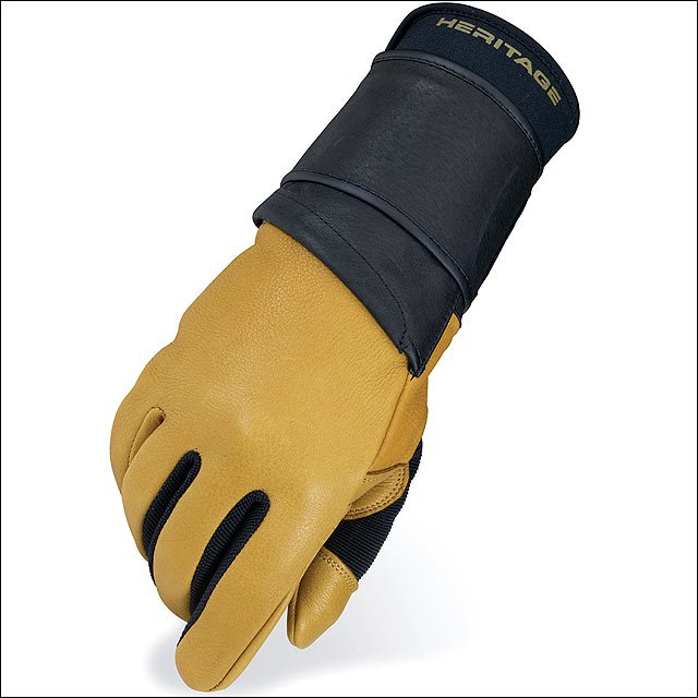11 SIZE LEFT HAND HERITAGE PRO 8.0 BULL RIDING GLOVE DEER SKIN LEATHER TAN