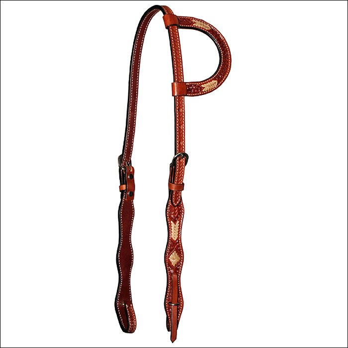 CIRCLE Y 5/8 IN. REGULAR OIL ONE EAR HORSE HEADSTALL WITH RAWHIDE BUTTONS