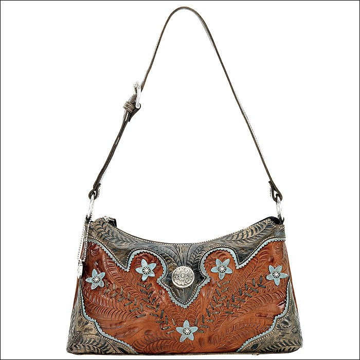 AW568 AMERICAN WEST ANTIQUE BROWN LEATHER LADIES SHOULDER HANDBAG PURSE