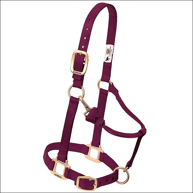 "BURGUNDY WEAVER ORIGINAL ADJUSTABLE CHIN THROAT SNAP HALTER 3/4"" WEANLING PONY"