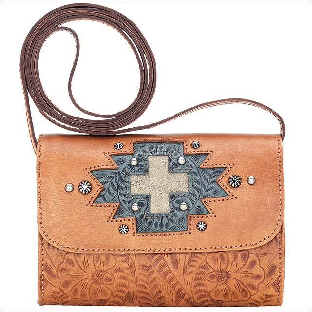 AMERICAN WEST LEATHER GAMEDAY SMALL LADIES CROSSBODY BAG CROSS SIGN HARVEST TAN