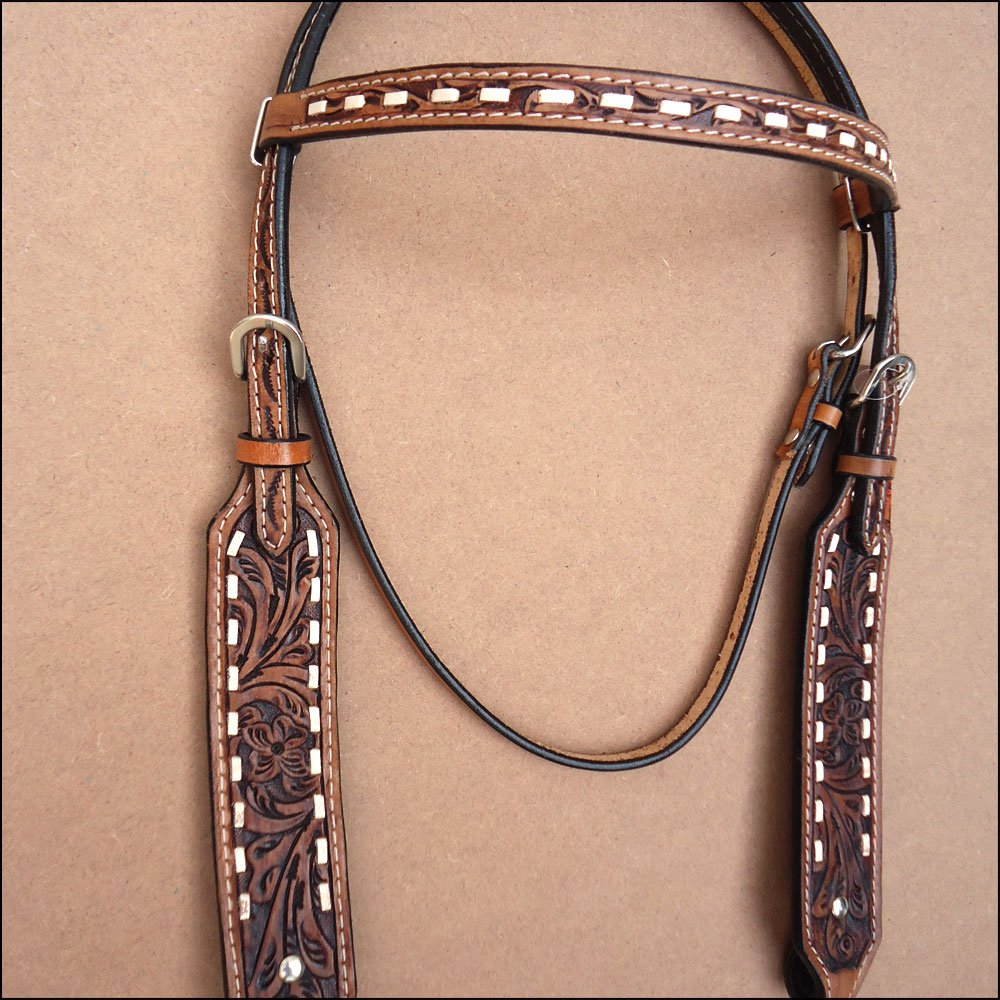 HILASON WESTERN LEATHER BRIDLE HEADSTALL ANTIQUE BROWN W/ FRINGES