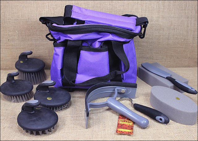 PURPLE HILASON 10 PC PREMIUM HORSE GROOMING TOTE KIT W/ PALM COMFORT TOOLS