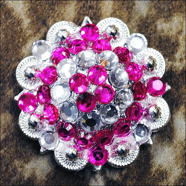 CN39 SET OF 4 HOT PINK CLEAR CRYSTAL 1-1/4in BERRY CONCHO RHINESTONE SADDLE TACK