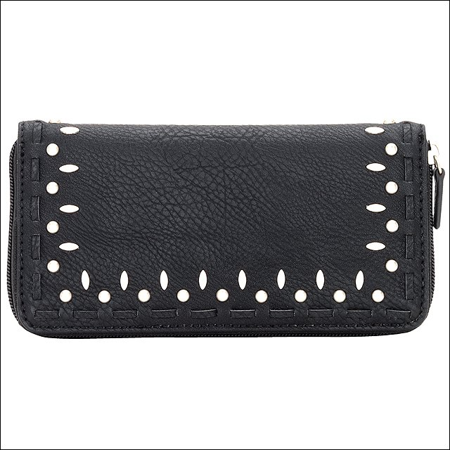 AMERICAN WEST BANDANA SIOUX ZIP AROUND LADIES WALLET SILVER SPOTS LACING