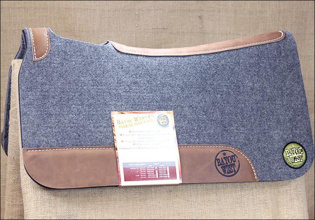 NFC7 BAYOU WEST GREY CONTOURED WOOL FELT NEOPRENE HORSE SADDLE PAD MADE IN USA