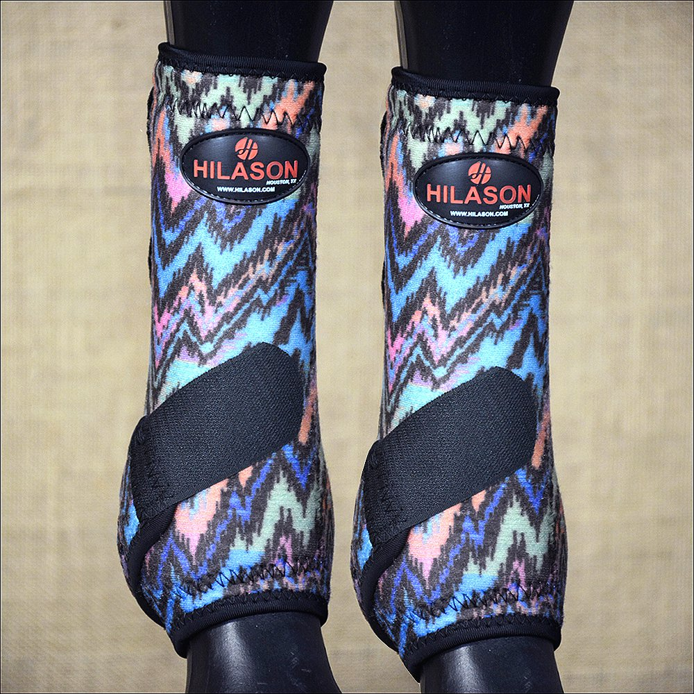 MEDIUM HILASON ZIG ZAG HORSE FRONT LEG PROTECTION ULTIMATE  SPORTS BOOTS PAIR