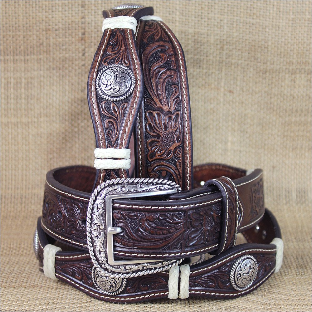 WESTERN ARIAT LEATHER MENS BELT WITH SCALLOP FLORAL CONCHOS BROWN 32-46 inches