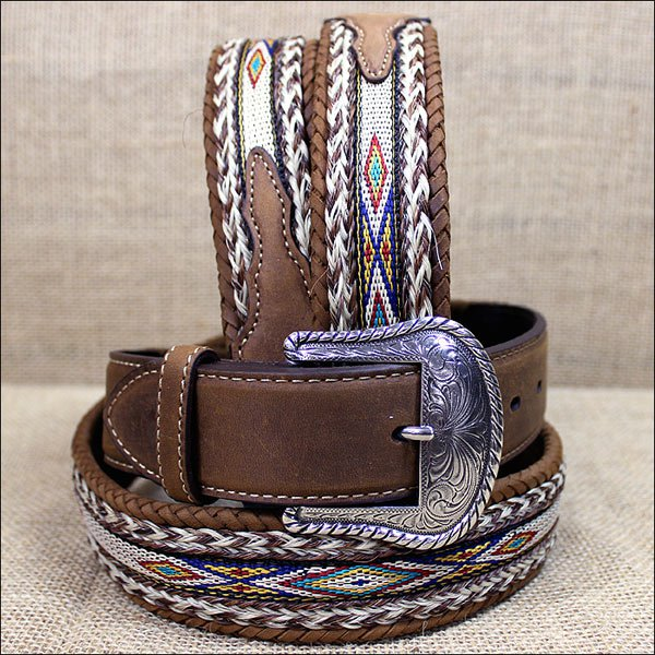 38 inch TONY LAMA BROWN MEN'S BADLANDS HORSE HAIR WITH RIBBON INLAY LEATHER BELT