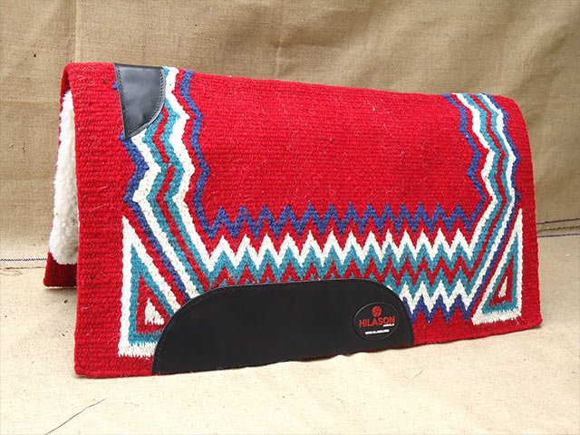 MADE IN USA FE275-F HILASON WESTERN FELT SADDLE BLANKET PAD RED BLUE WHITE