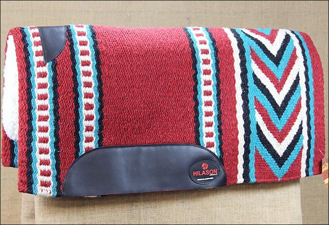 MADE IN USA HILASON WESTERN WOOL FELT SADDLE BLANKET PAD RED TURQUOISE WHITE