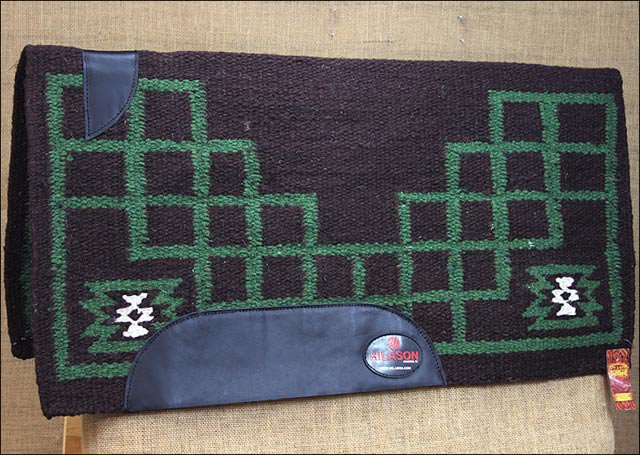 FEP239 HILASON NEW ZEALAND WOOL SADDLE BLANKET WESTERN RODEO BROWN WHITE GREEN