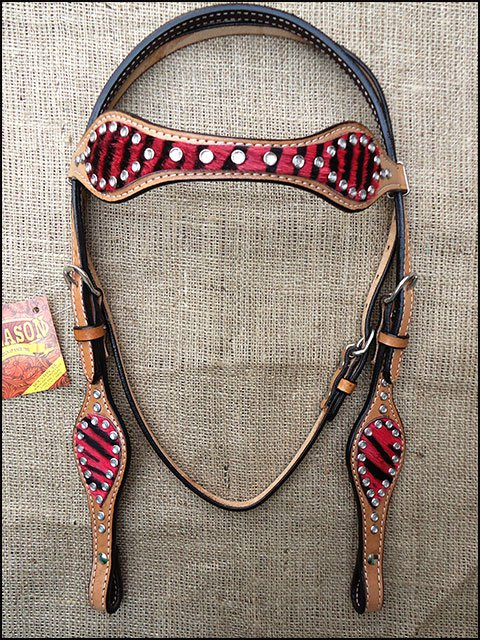 HILASON WESTERN RED ZEBRA HAIR ON LEATHER HORSE BRIDLE HEADSTALL