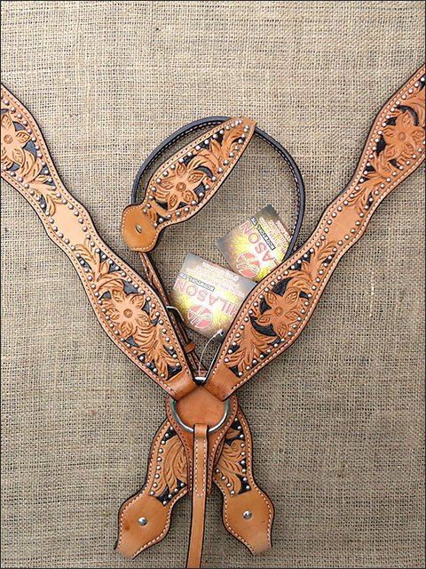 S9 HILASON WESTERN LEATHER HORSE ONE EAR HEADSTALL BREAST COLLAR HAND PAINT TOOL