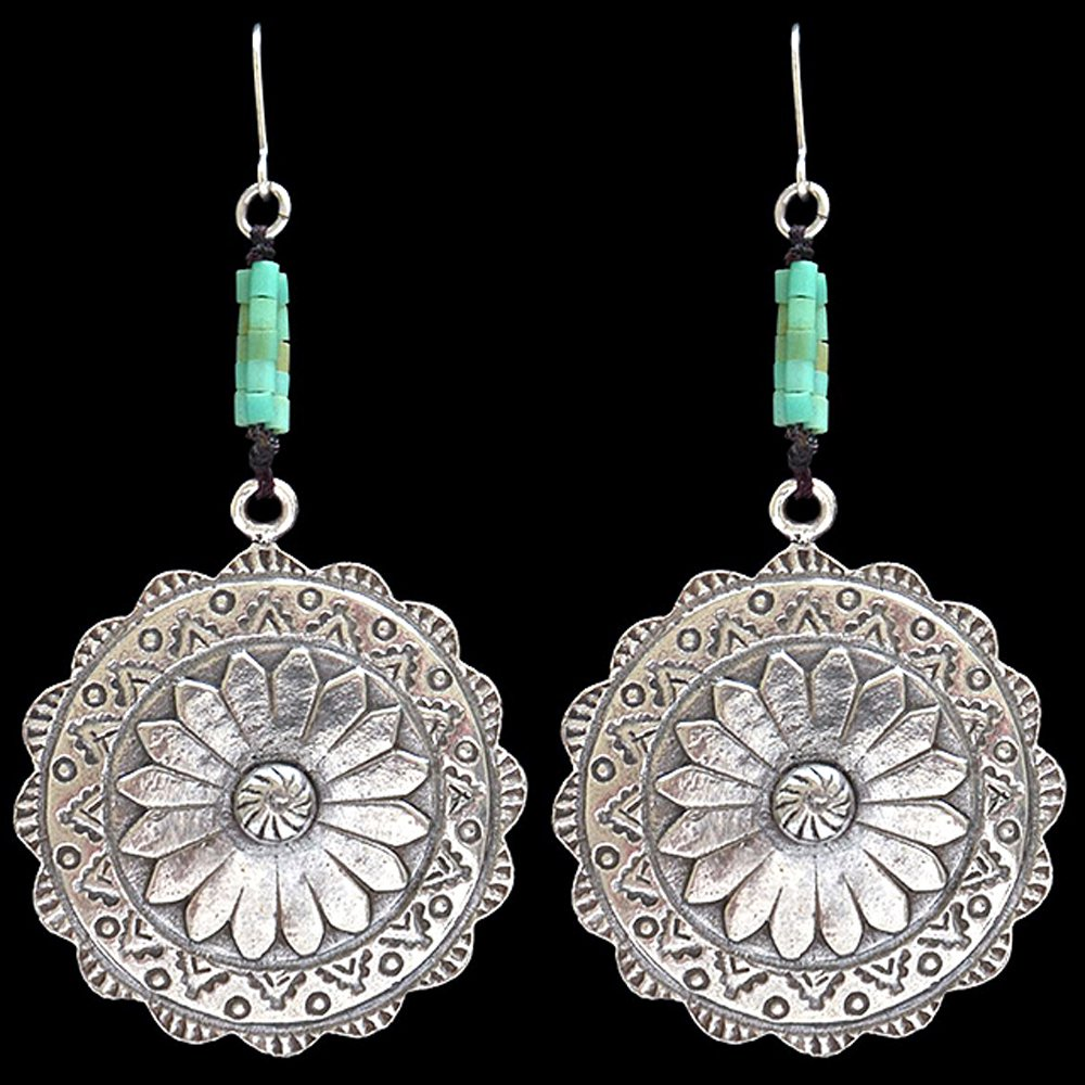 3D ANGEL LADIES FLOWER SILVER SCALLOPED FLORAL TURQUOISE  WOMEN EARRINGS