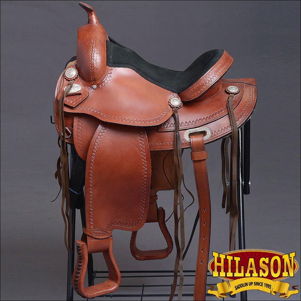 "TO108-F HILASON TREELESS WESTERN LEATHER TRAIL PLEASURE HORSE RIDING SADDLE 15"""