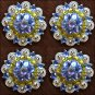 SET OF 4 PURPLE LEMON AB CRYSTALS 1-1/4in. BERRY CONCHO RHINESTONE SADDLE TACK