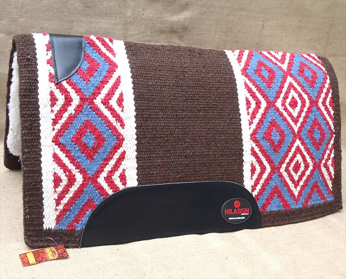 FEP309 MADE IN USA HILASON WESTERN WOOL FELT SADDLE BLANKET PAD BROWN BLUE PINK