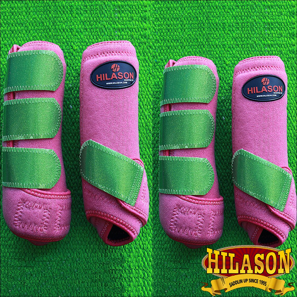LARGE HILASON GLITTER GREEN HORSE FRONT REAR LEG PROTECTION SPORTS BOOTS 4 PACK