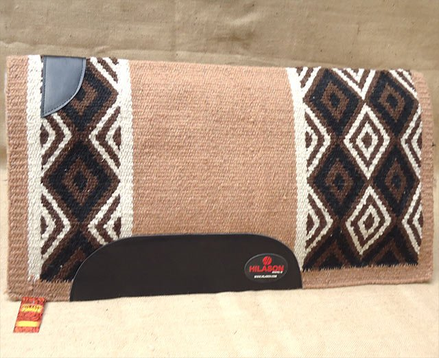 FEP310 HILASON WESTERN NEW ZEALAND WOOL HORSE SADDLE BLANKET BLACK BROWN