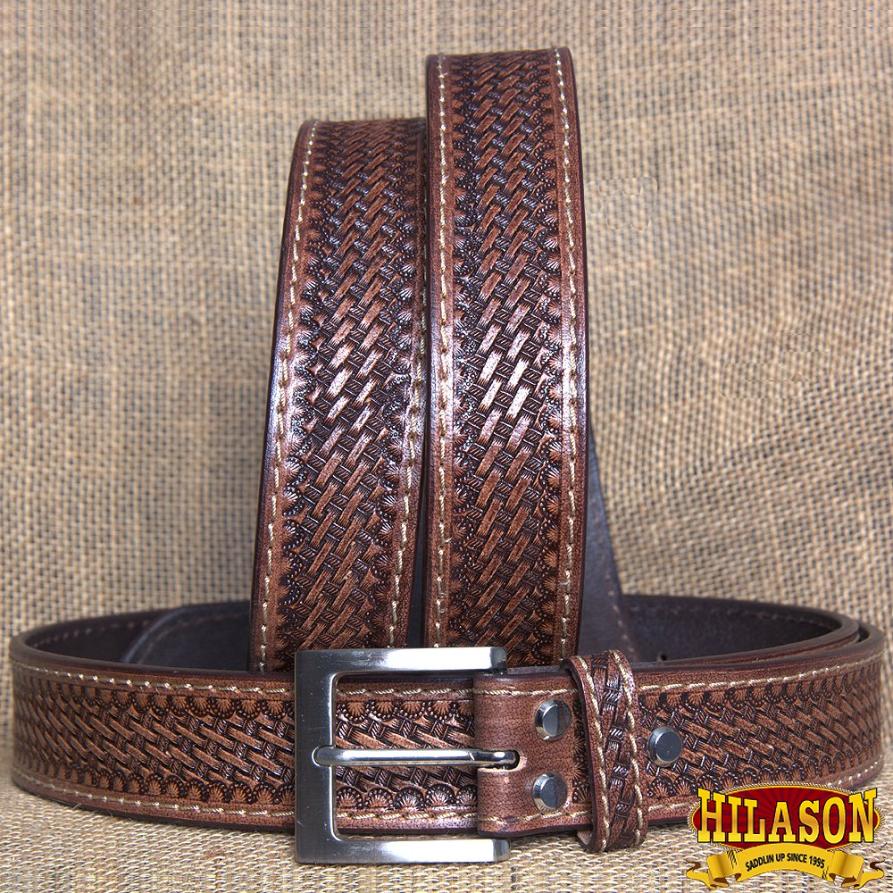 GM202-F HILASON HAND MADE HEAVY DUTY BUFFALO HIDE LEATHER STICHED BELT 38""