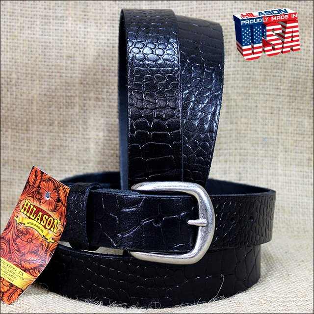 54IN. BLACK 1.5in LEATHER BELT CROCODILE EMBOSSED DESIGN MADE IN USA