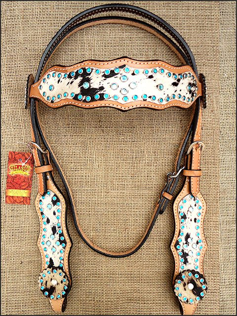 HILASON WESTERN COWHIDE LEATHER HORSE HEADSTALL BRIDLE TURQUOISE CRYSTAL