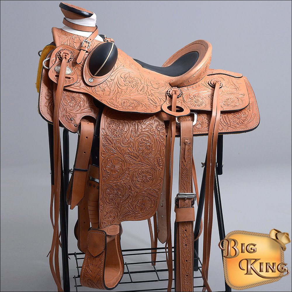 W92-F HILASON BIG KING SERIES WESTERN LEATHER WADE RANCH ROPING TRAIL SADDLE 16""