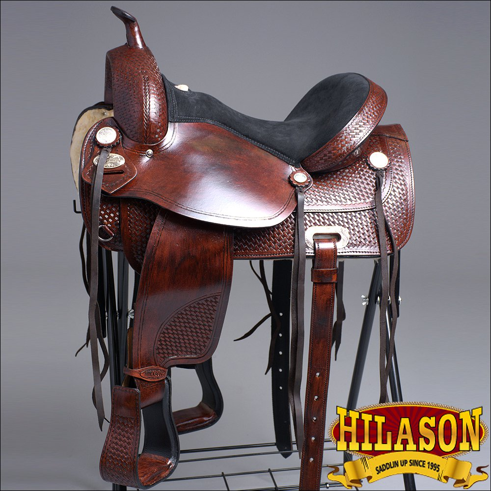 "TO106AM HILASON TREELESS WESTERN LEATHER TRAIL BARREL RACING SADDLE 16"" 17"""