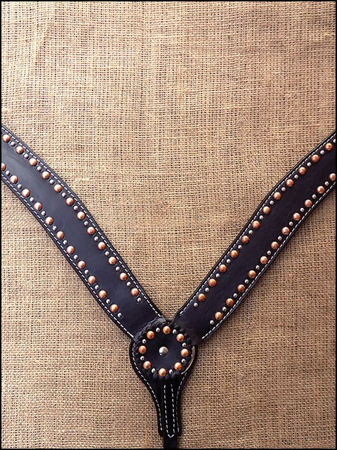 HILASON WESTERN LEATHER HORSE BREAST COLLAR WITH STUDS - BLACK