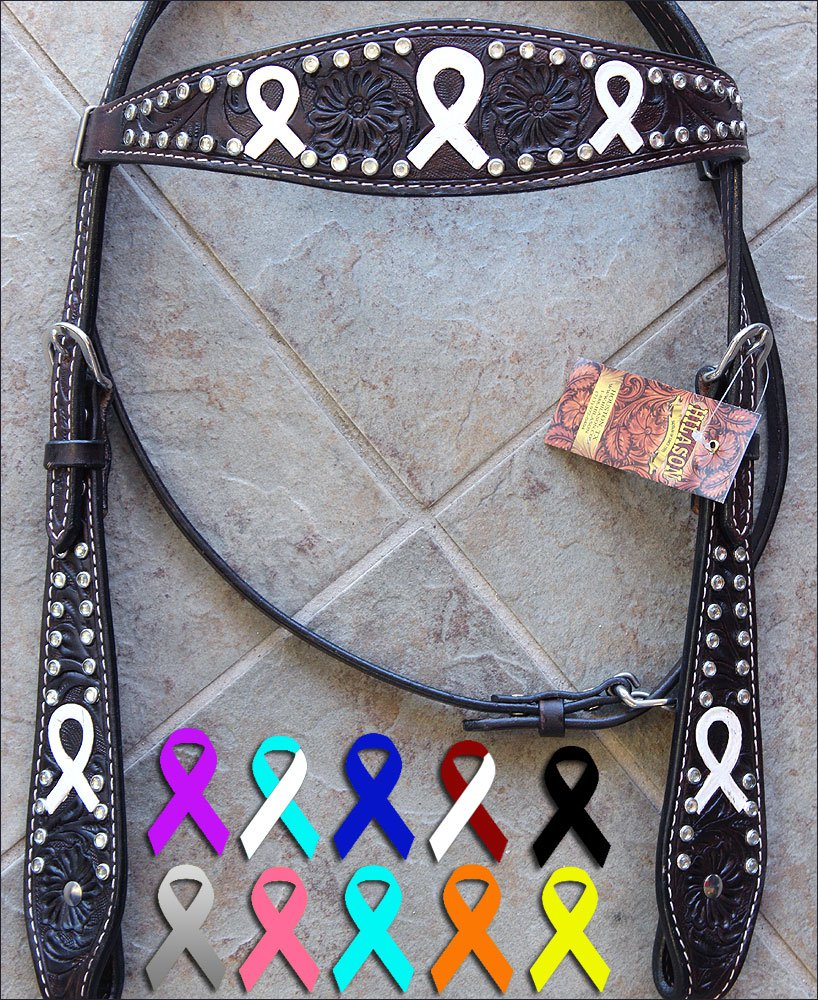 HILASON WESTERN LEATHER HORSE BRIDE HEADSTALL BROWN WHITE BREAST CANCER RIBBON
