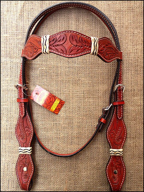 HILASON WESTERN LEATHER RAWHIDE BRAIDED HORSE HEADSTALL BRIDLE MAHOGANY