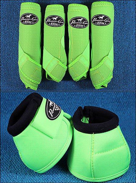LIME LARGE PROFESSIONAL CHOICE SPORTS MEDICINE HORSE BOOTS BELL VENTECH ELITE