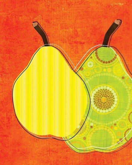 Green Pears on Orange Background