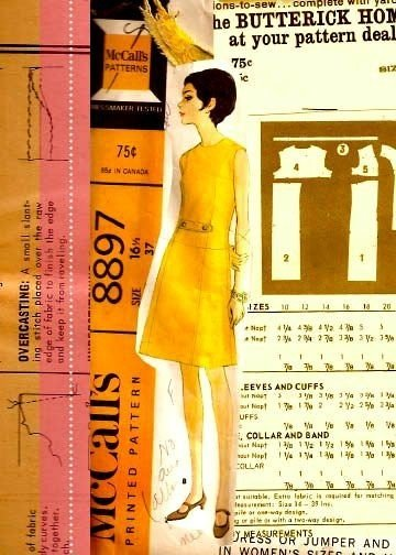 Vintage dress and pattern collage print 8x10 matted