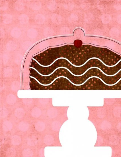 .Cake in cake stand with chocolate frosting 8x10 matted