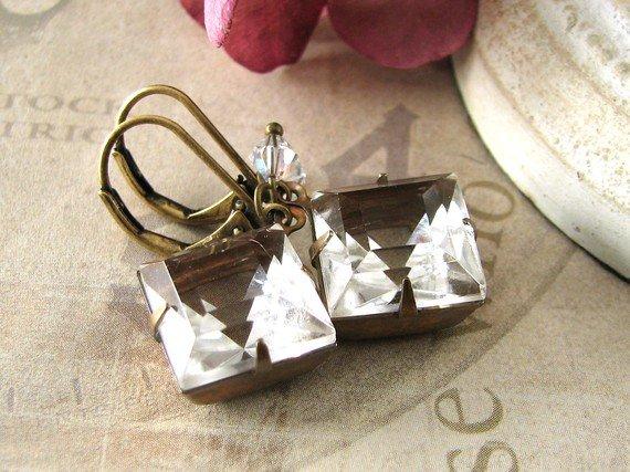 Crystalline Romance - vintage clear jewel brass earrings - Estate Style