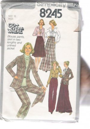 Incomplete Misses' Blouse, Pants,  and Unlined Jacket, Simplicity #8245 Sewing Pattern
