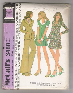 Misses' and Junior Three-Piece Suit with Unlined Jacket McCall's #3488 Sewing Pattern