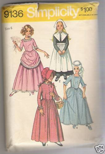 Child's and Girls' Puritan, Centennial, 18th and 19th Century Costumes Simplicity Sewing Pattern