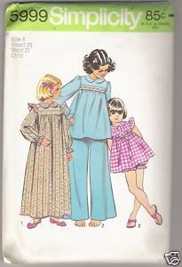 Child's and Girls' Pajamas and Nightgown Simplicity #5999 Sewing Pattern